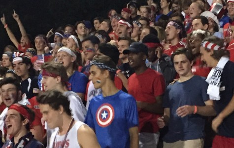 The Patriot Posse at a football game