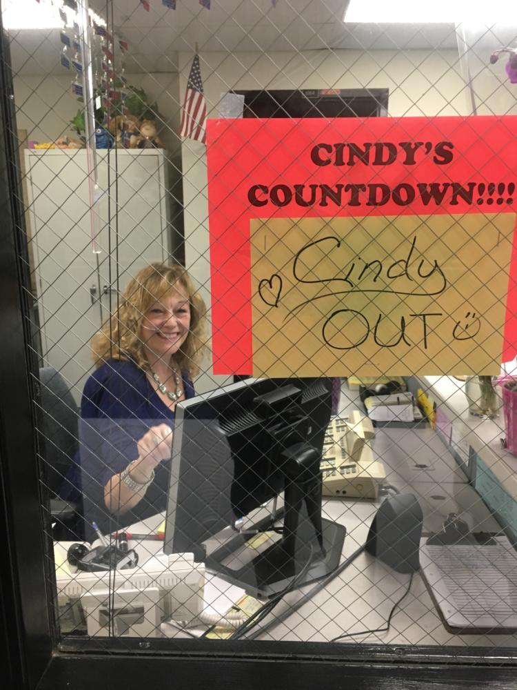 Cindy is hard at work on her last day at South.