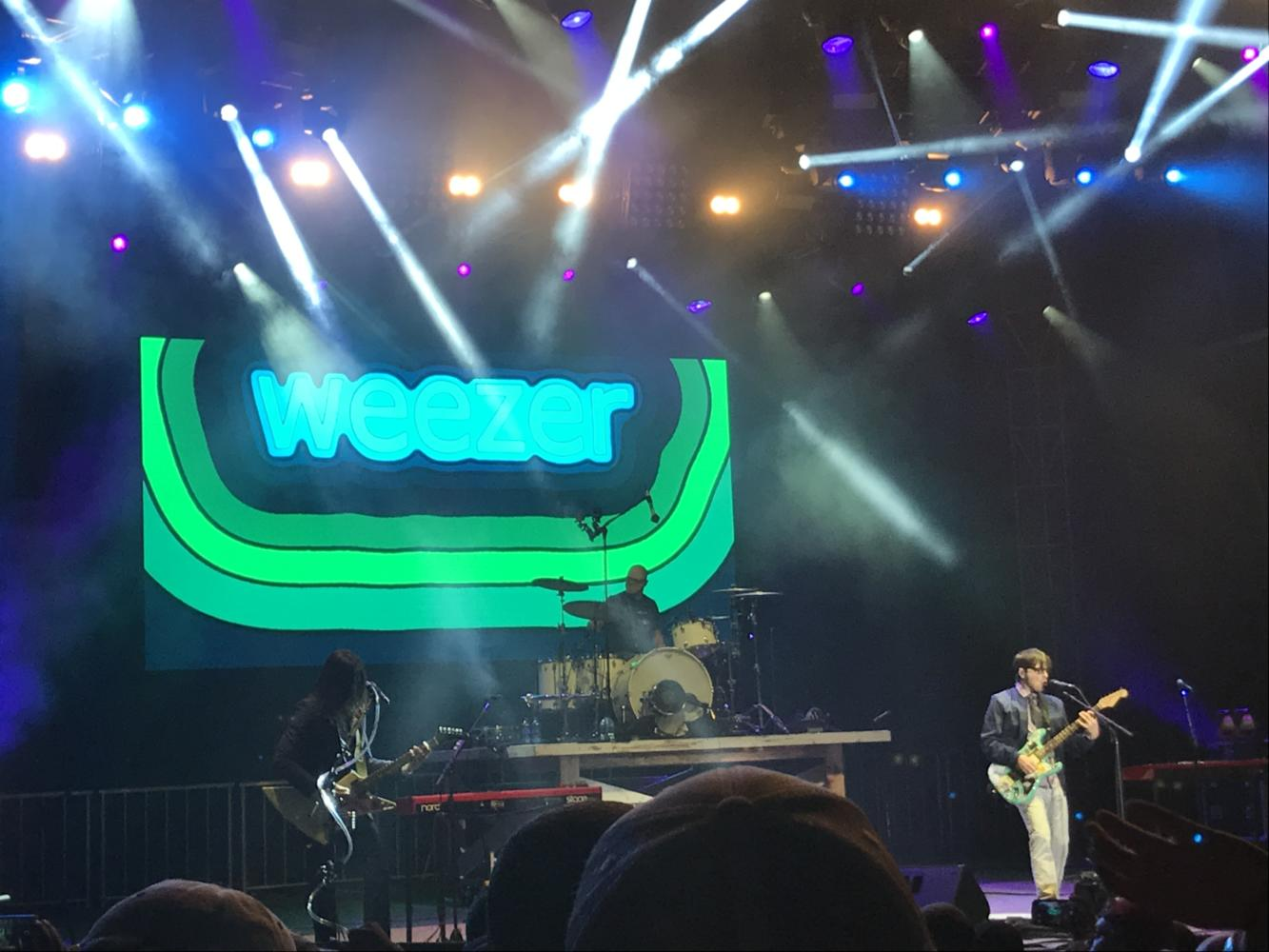 The band Weezer rocks out in Forest Park at LouFest. Photo by Hannah Esker.