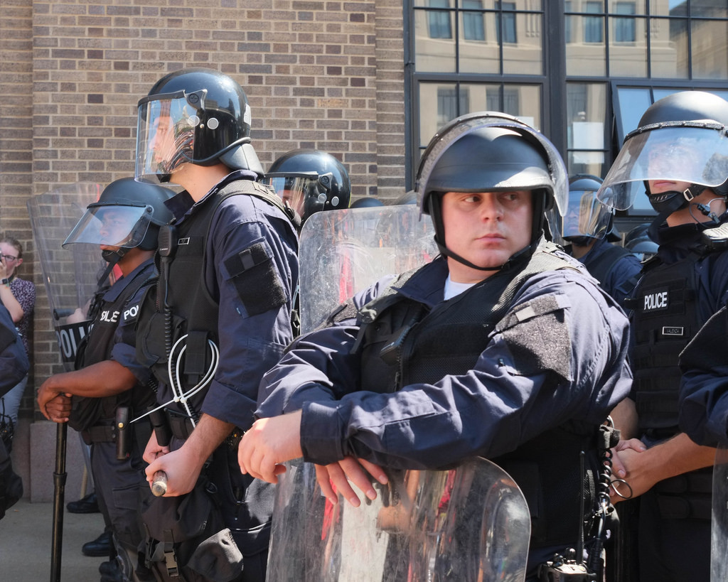 A St. Louis police officer in riot gear is on duty during protests in St. Louis after the Jason Stockley verdict.