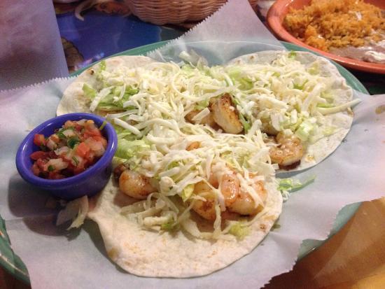 Shrimp tacos at Azteca.