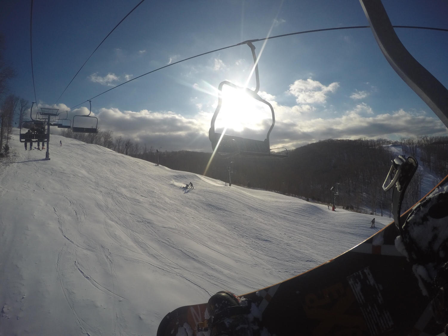 A view of the Continental Divide diamond at Hidden Valley from a skilift.