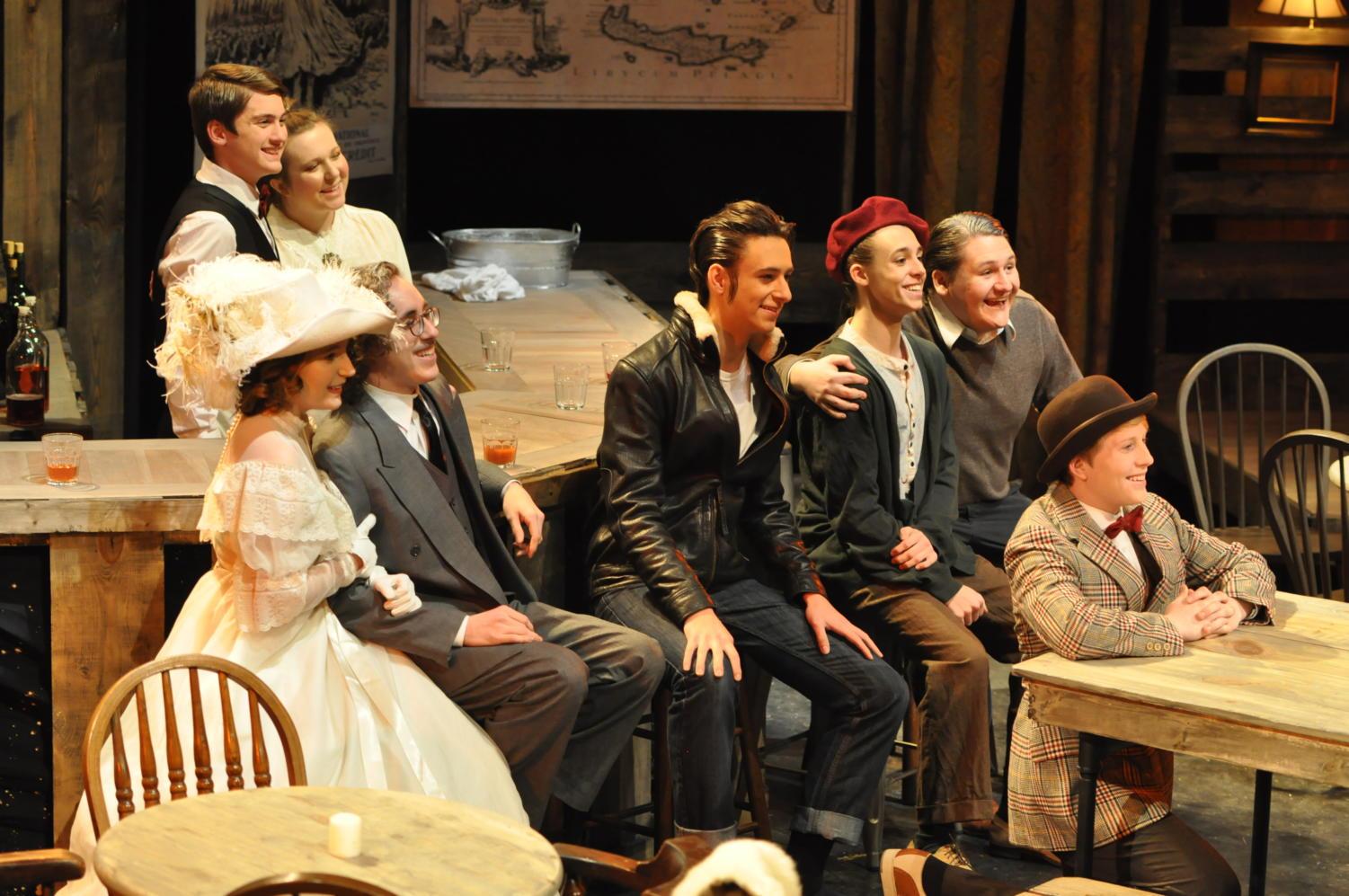 Cast members take a picture during the play