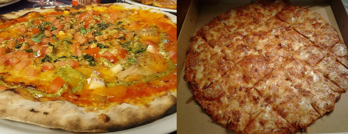 Pizza from Visuvio's in Terralba, Italy (left). Pizza from Imo's (right).