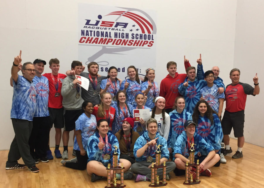 Members+of+the+Parkway+racquetball+team+pose+for+a+team+picture+after+winning+the+national+championship.+