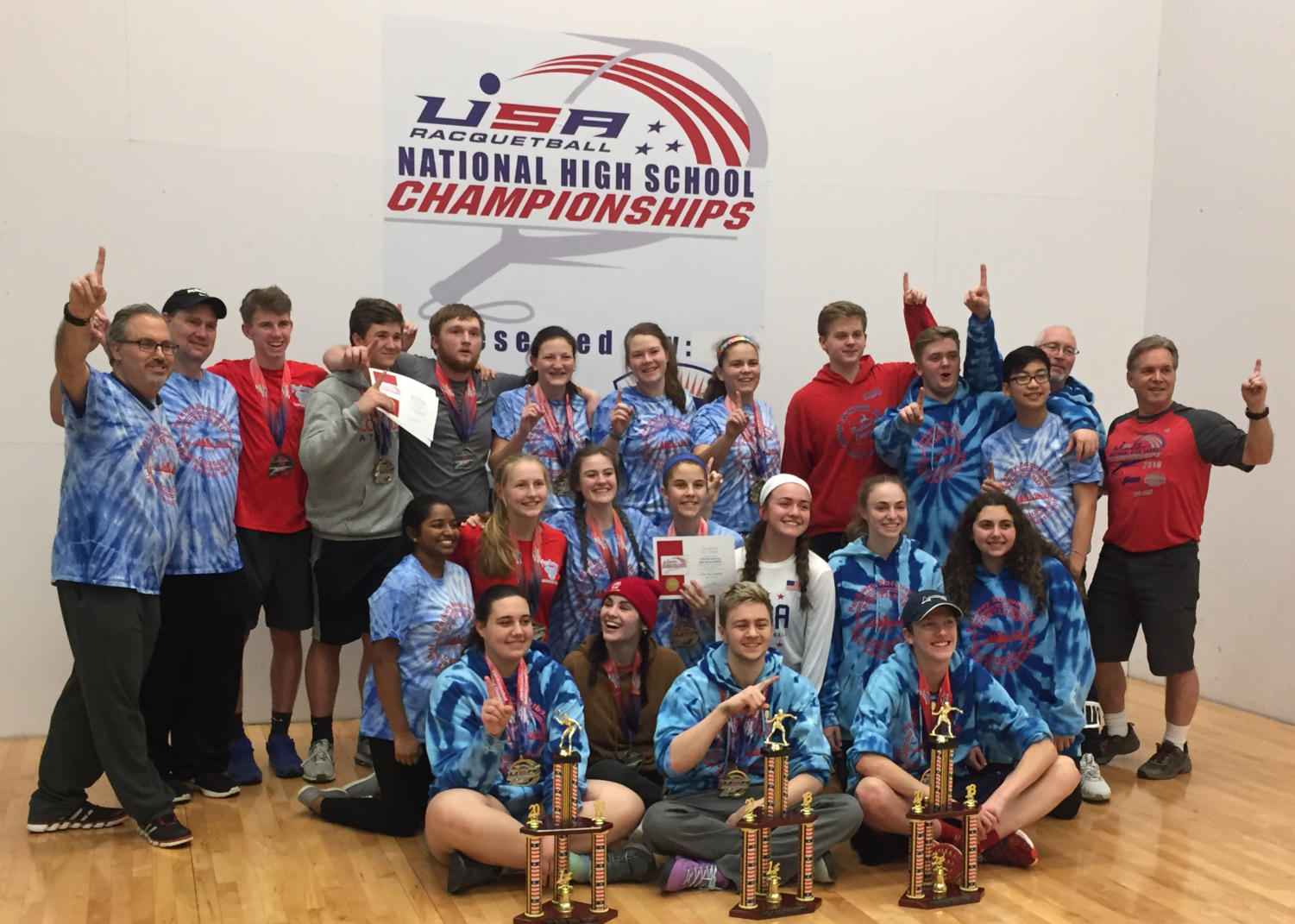 Members of the Parkway racquetball team pose for a team picture after winning the national championship.