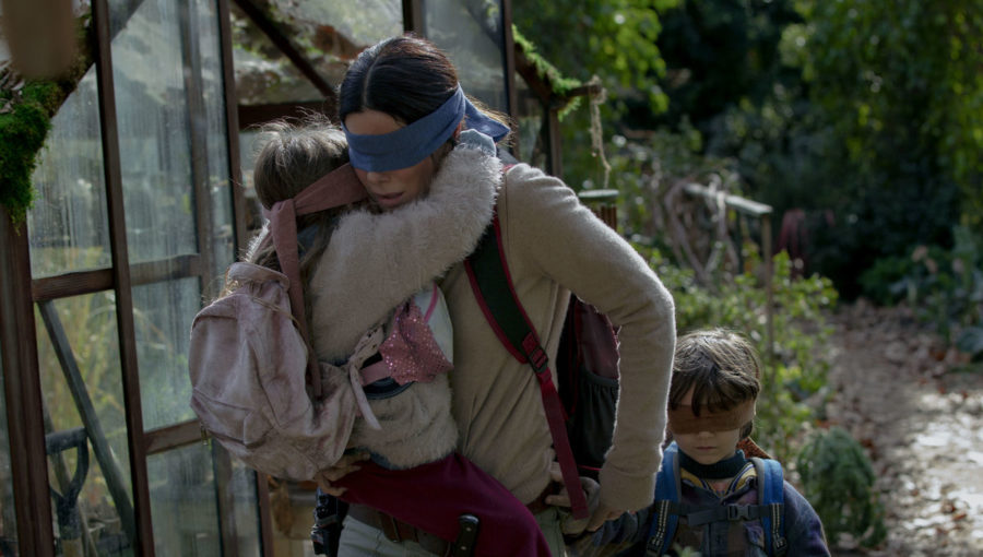 Malorie, played by Sandra Bullock, journeys with her kids to safety in the Netflix orginal movie, Bird Box.