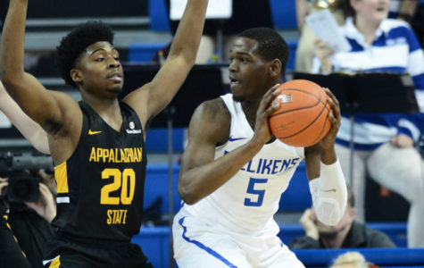 Freshman Carte'Are Gordon tries to get past an Appalachian State opponent, Dec. 30.
