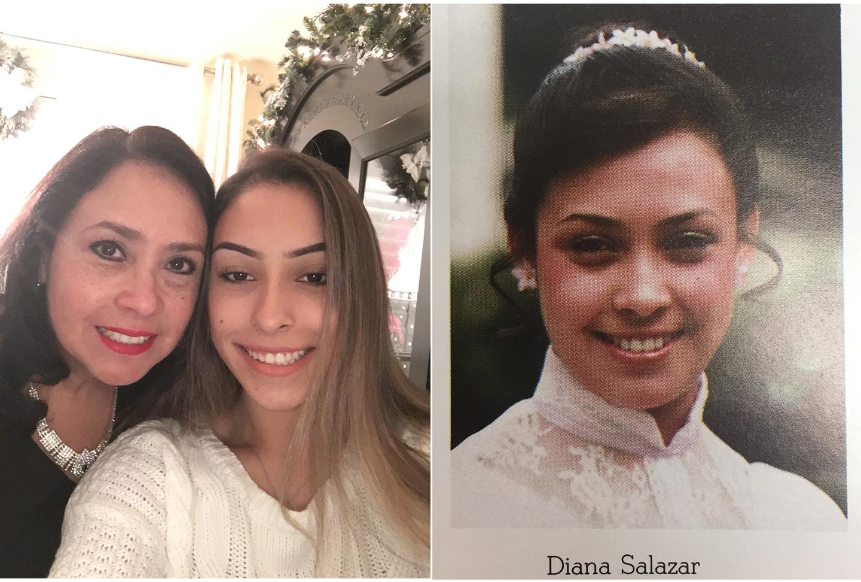 (Left) Senior Diana Ramos with her mom, Diana Salazar. (Right) Diana Salazar's 1983 South High senior photo.