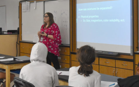 New science teacher Mary Schuckmann teaches students in her Matter and Change class.