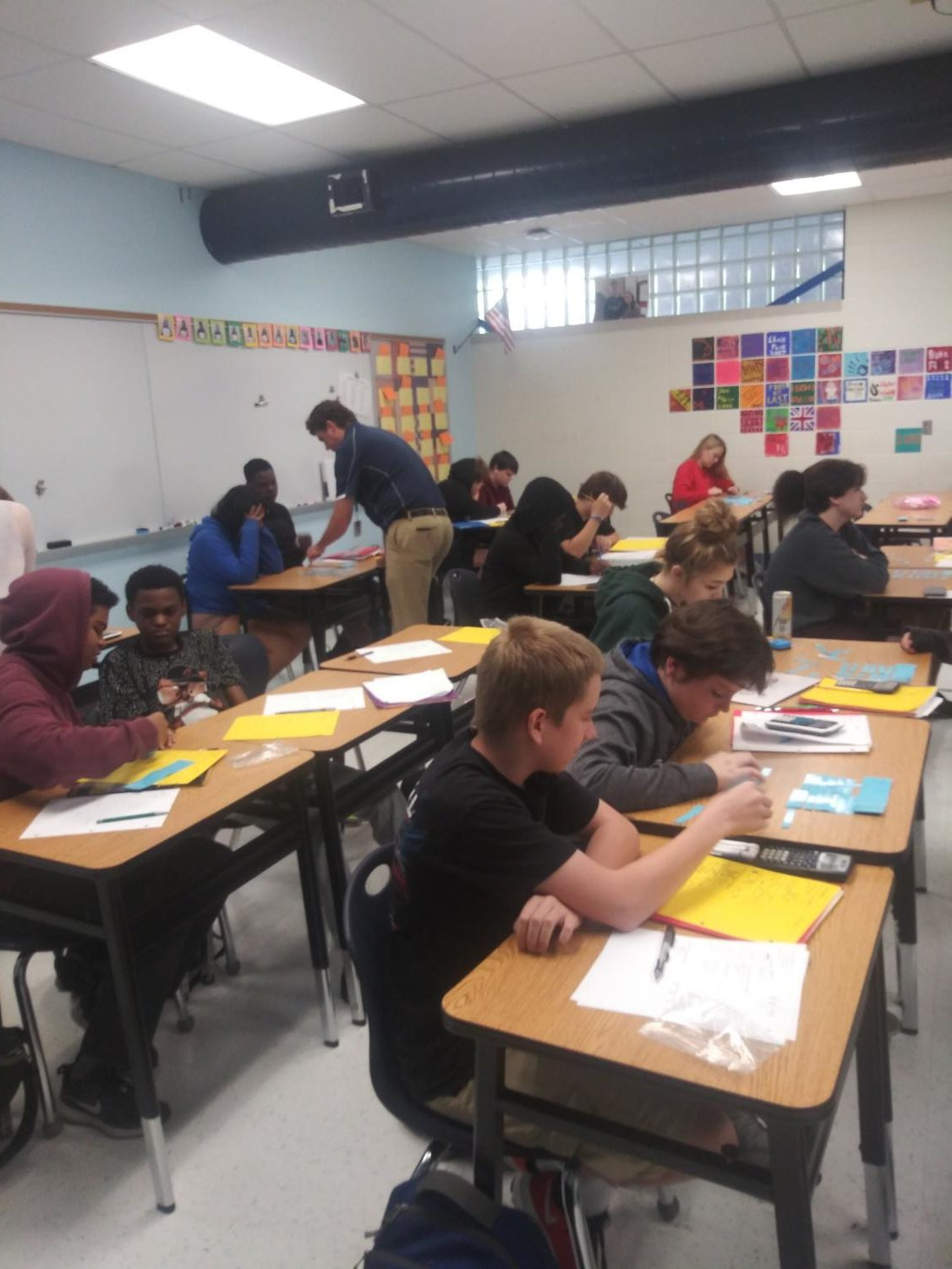 Students work in Jamie Dresser's third block Geometry class. Next year students will likely have to wait till January to take their first semester finals.