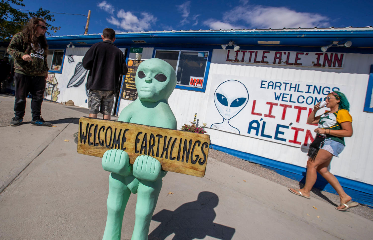 Alien enthusiasts descend on the Little A'Le'Inn near Area 51 and the adjacent town of Rachel, Nev., on September 19, 2019.
