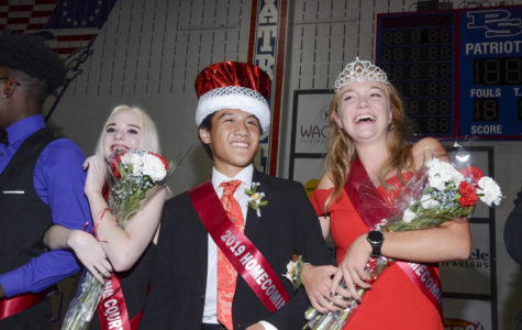 Seniors Jeffrey Ying and Samantha VanEssendelft are crowned King and Queen of Homecoming.