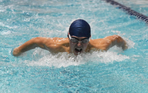 Senior Ben Gold competes in the Butterfly during a recent home meet.