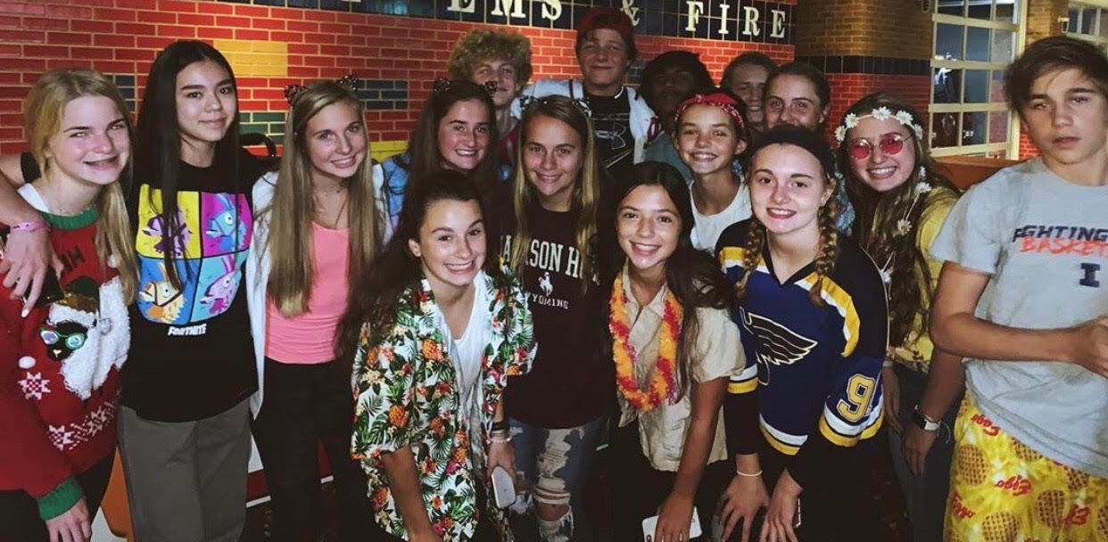 A group of freshmen gets dressed up for Halloween at a YoungLife meeting, Oct. 28.
