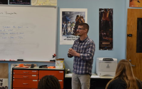 Mr. Lake lectures to his 3rd block World History class. Lake teaches Rap, Rock and Jazz 2nd block.