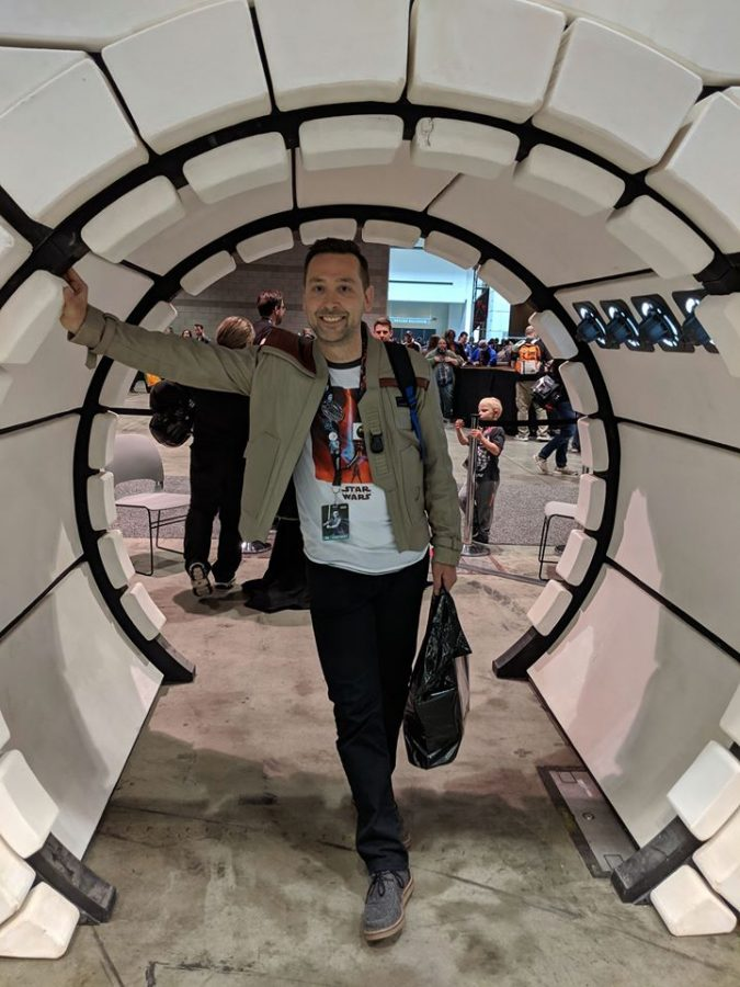 Latin teacher Jason Tiearney enjoys himself at the Star Wars Celebration over the summer in Chicago.