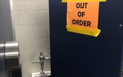 One of the girls stalls in the bathrooms near the foreign language classrooms.