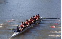 Senior Kendalyn Furukawa sits in the coxswain position to command a boat during competition.