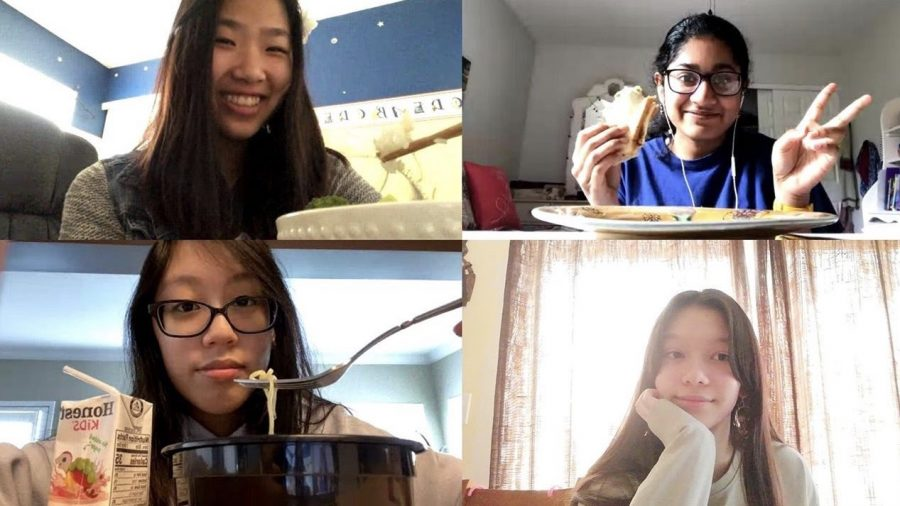 (Clockwise from top left) Sophomores Emma Cheng, Anika Vydier, Brianna Nguyen, and Isabel Yearian enjoy a lunch period over Zoom.