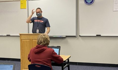 Mike Hachmeister addresses  his 3rd block Debate class.