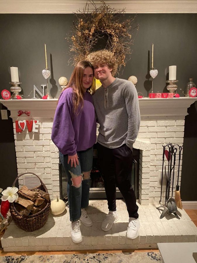 Sophomores Tatum Nelson and Bennett Diehl take a picture before having dinner and a movie at home on Valentine's Day.