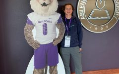 Senior James Stone poses next to the mascot for Abilene Christian University, the college he's attending next fall.