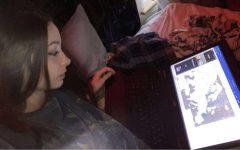 Freshman Athena Miransky works hard on her homework for class.