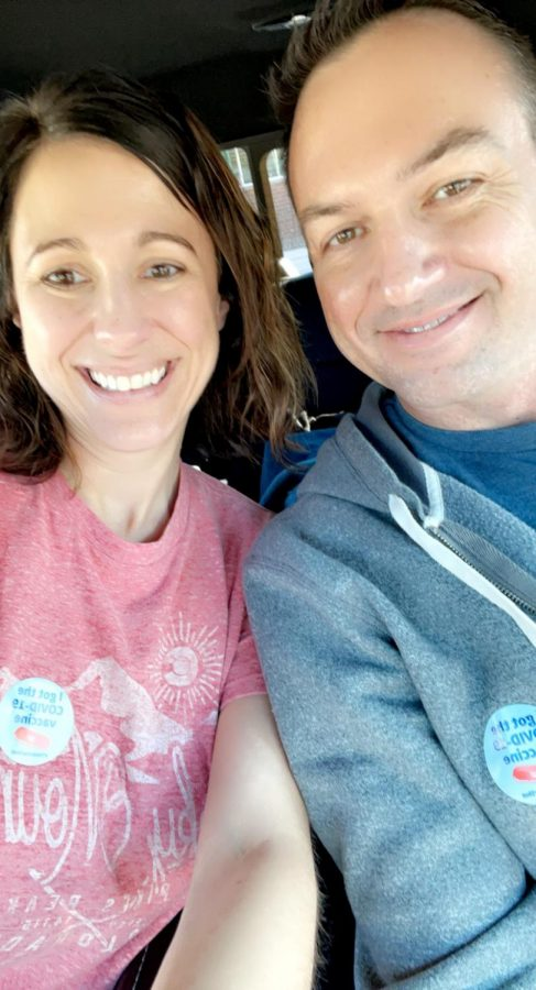 South High teachers Megan and Chris Orban take a picture after they received their first dose of the COVID vaccine.