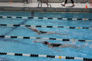 Junior Kylee Sullivan and sophomore Carly Shaffer swim a backstroke relay in a meet from last year.